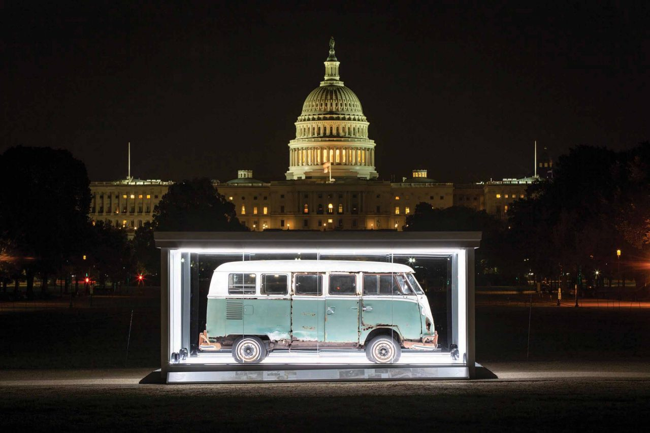 restored VW Bus in front of U.S. Capitol