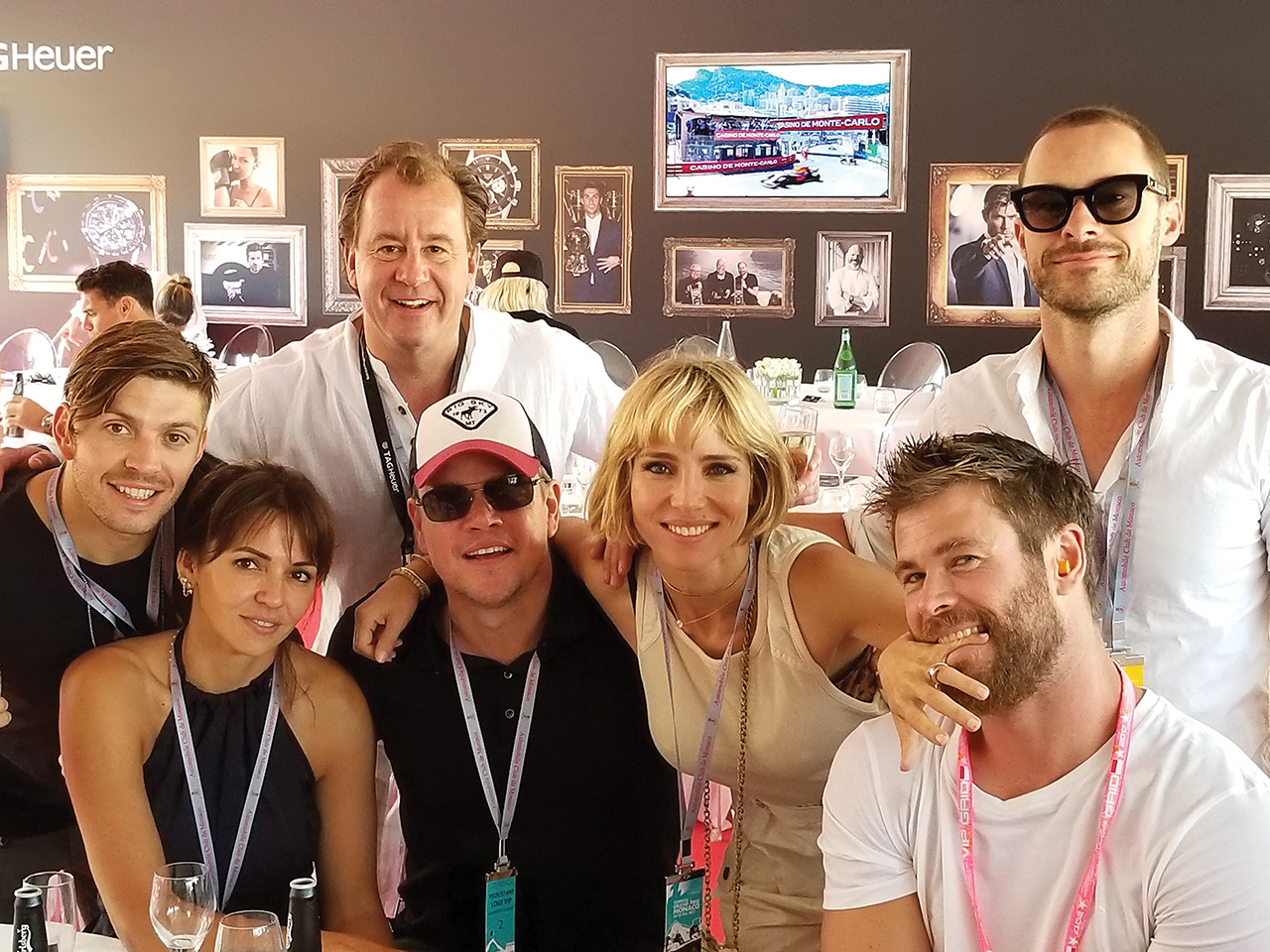 Attending the Monte Carlo Grand Prix with Chris Hemsworth in 2016 (l – r): Luke Zocchi (Hemsworth's trainer and good friend), Lucy Damon, Ward, Matt Damon, Elsa Pataky (Hemsworth's wife), Hemsworth and Aaron Grist (Hemsworth's assistant and good friend).