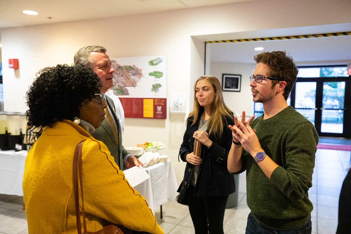 College of Charleston students attend a drop-in social with President Andrew Hsu and the Board of Trustees.