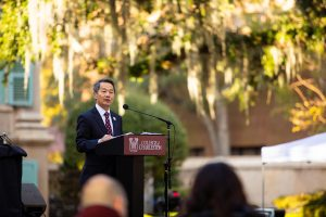 President Hsu speaks at CofC Day.