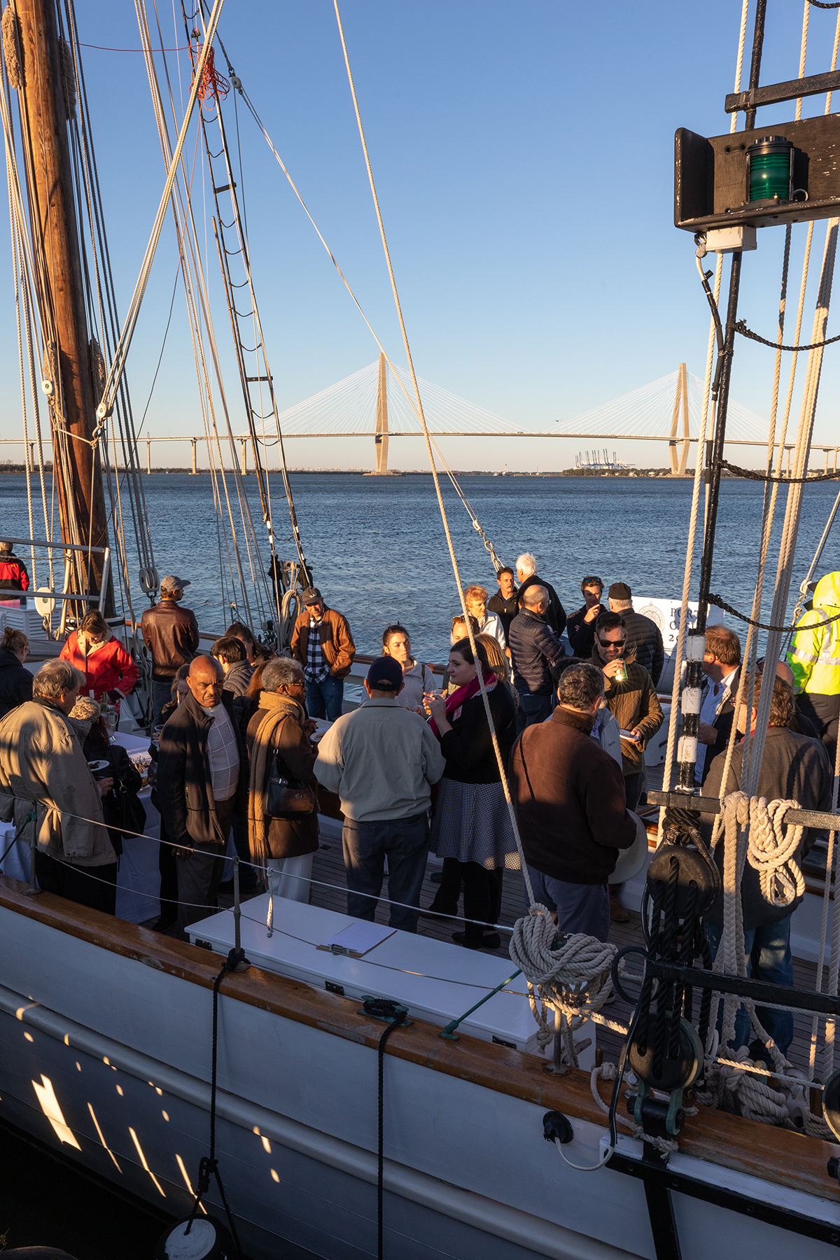 CofC's School of Languages, Cultures and World Affairs hosted the opening reception for is World Affairs Signature Series for Spring 2020 on Sea Life: Ships, Culture, and the History of Global Waterways aboard the tall ship the Spirit of South Carolina on Friday, Feb 7, 2020.