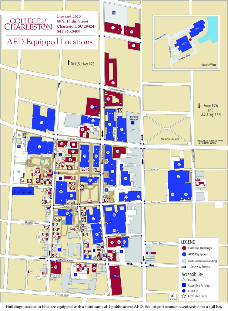 Map of public access AEDs on campus