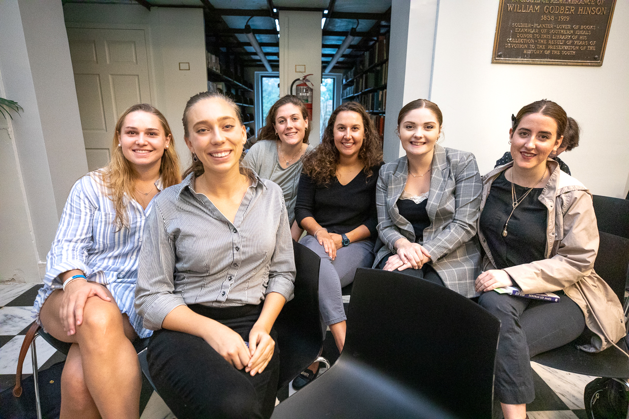 Students from Ambassador Melville's Global Ambassador's class. From left to right Morgan Rice, Madison Daniel (front row), Lydia Cook (back row), Nicole Simon, Jennifer Smith-Pickering and Grace Parker. Not pictured - Morgan Eppley.