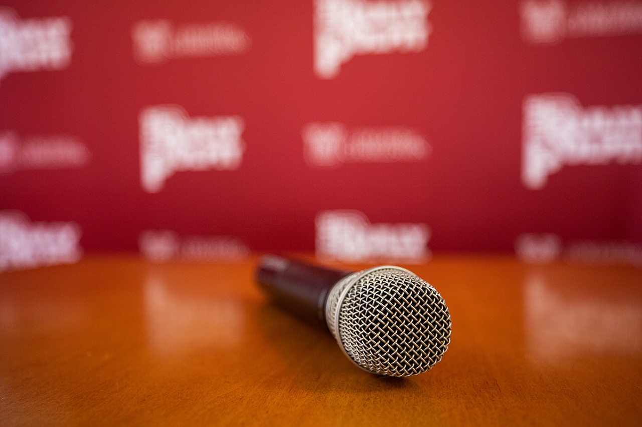 Bully Pulpit backdrop and microphone
