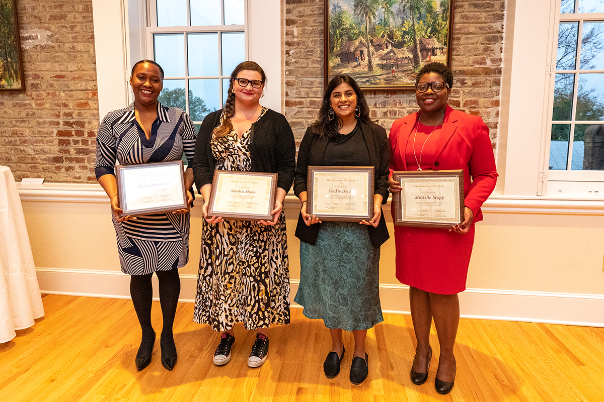 Alumni Michelle Mapp, Professor Sandra Slater, staff member Marla Robertson and student Cookie Desai were all recognized in this year's 2020 Phenomenal Women Awards. With the keynote given by CofC Alum Judge Jasmine Twitty.