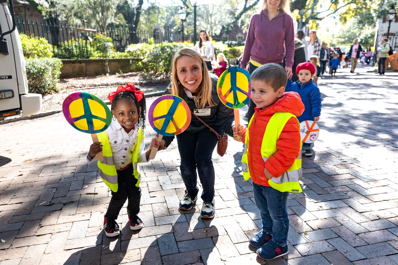 The students of ECDC walked through the College of Charleston Campus promoting peace and holding up signs of peace in the 2020 Peace Parade.