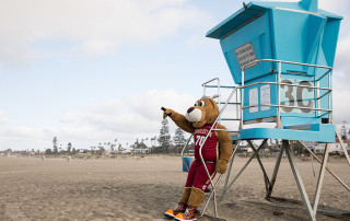 Clyde spots something from lifeguard stand
