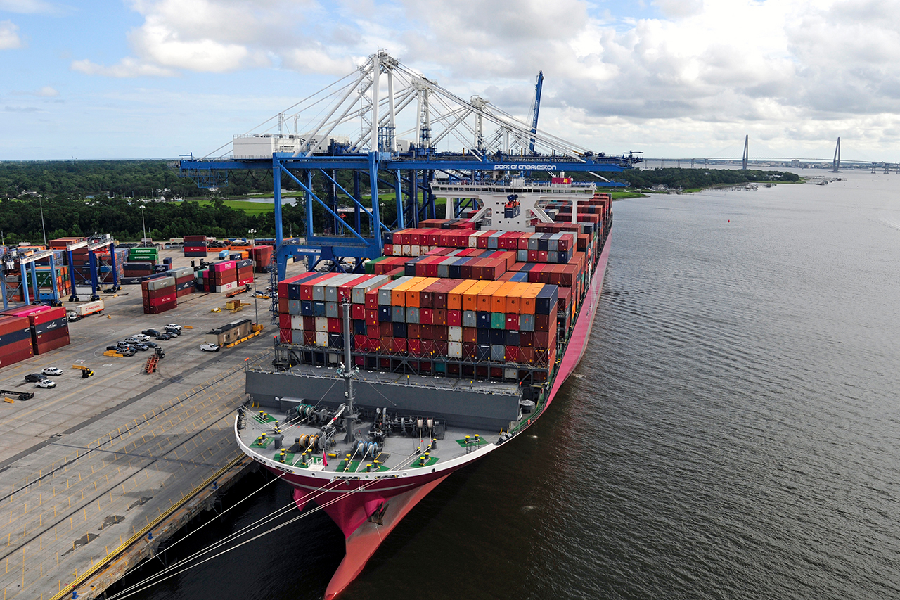a cargo ship at the port of charleston