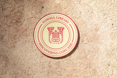 A medallion marks Towell library