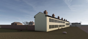 3d model of barracks that once stood in cistern yard