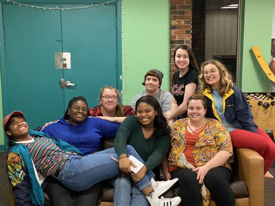 Resident assistants of Buist Rivers Residence Hall. From left: Charlise Page, Shy King, Alex Brannen, Demi Henderson, Chris Berkebile, Reilly O'Grady, Elizabeth Stafford and Adj Lee.