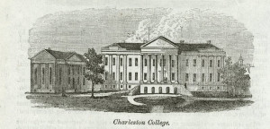 This engraving of the early College, from an 1861 book titled Our Whole Country, or The Past and Present of the United States, is believed to be one of the earliest known images of Randolph Hall with its portico and columns. Courtesy of College of Charleston Libraries, Special Collections.