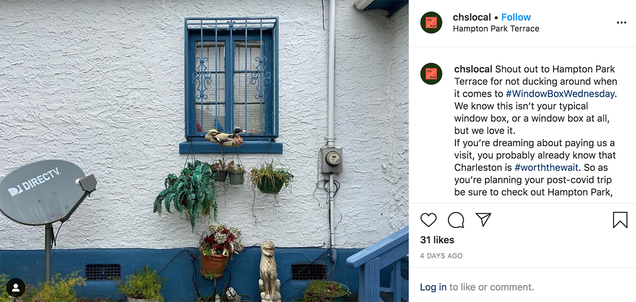 student instagram post providing a narrative of Hampton Park and surrounding neighborhoods with an image of a window box on a home
