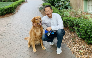 president hsu with his dog hoosier
