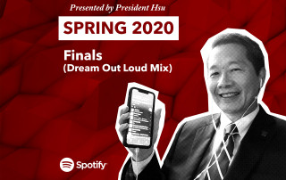 president hsu holds a cell phone with his playlist