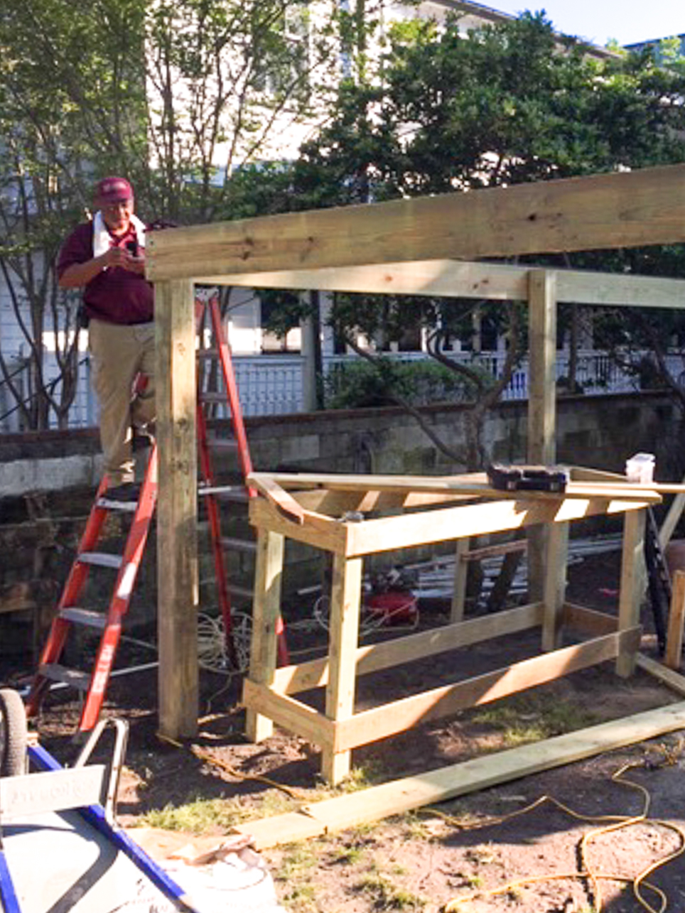 CofC Carpentry shop employees Bill Buckley, Keith Prioleau, Erik Broglund, Sam Holmes Stanley work on a plant shelter for the grounds department at 45 Coming Street during the 2020 COVID-19 Pandemic.
