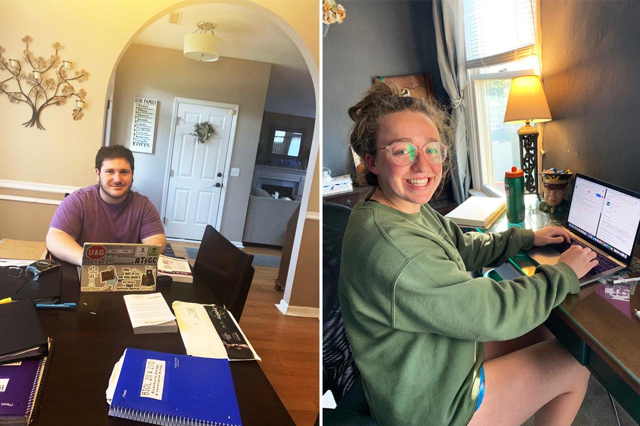 Joe Brennan and Eileen Vedder doing class assignments online with laptops
