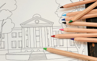 randolph hall coloring page with colored pencils