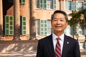 President Andrew Hsu stands in front of randolph hall