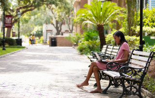 Student studies on a bench.