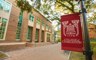 cofc lamp post banner outside Rita Liddy Hollings science center