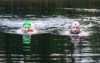 Brian Lanahan and Sara Stevenson swim at Trophy Lakes