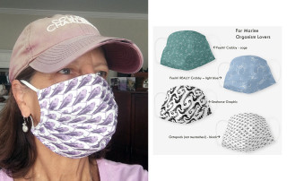geology professor leslie sautter wears a marine-inspired face mask