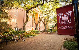 back of randolph hall with cofc signage