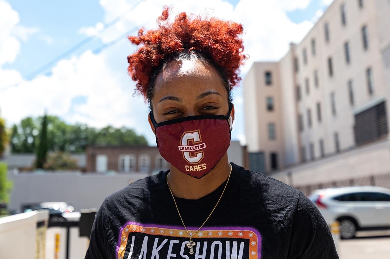 Students Wearing Masks Outside