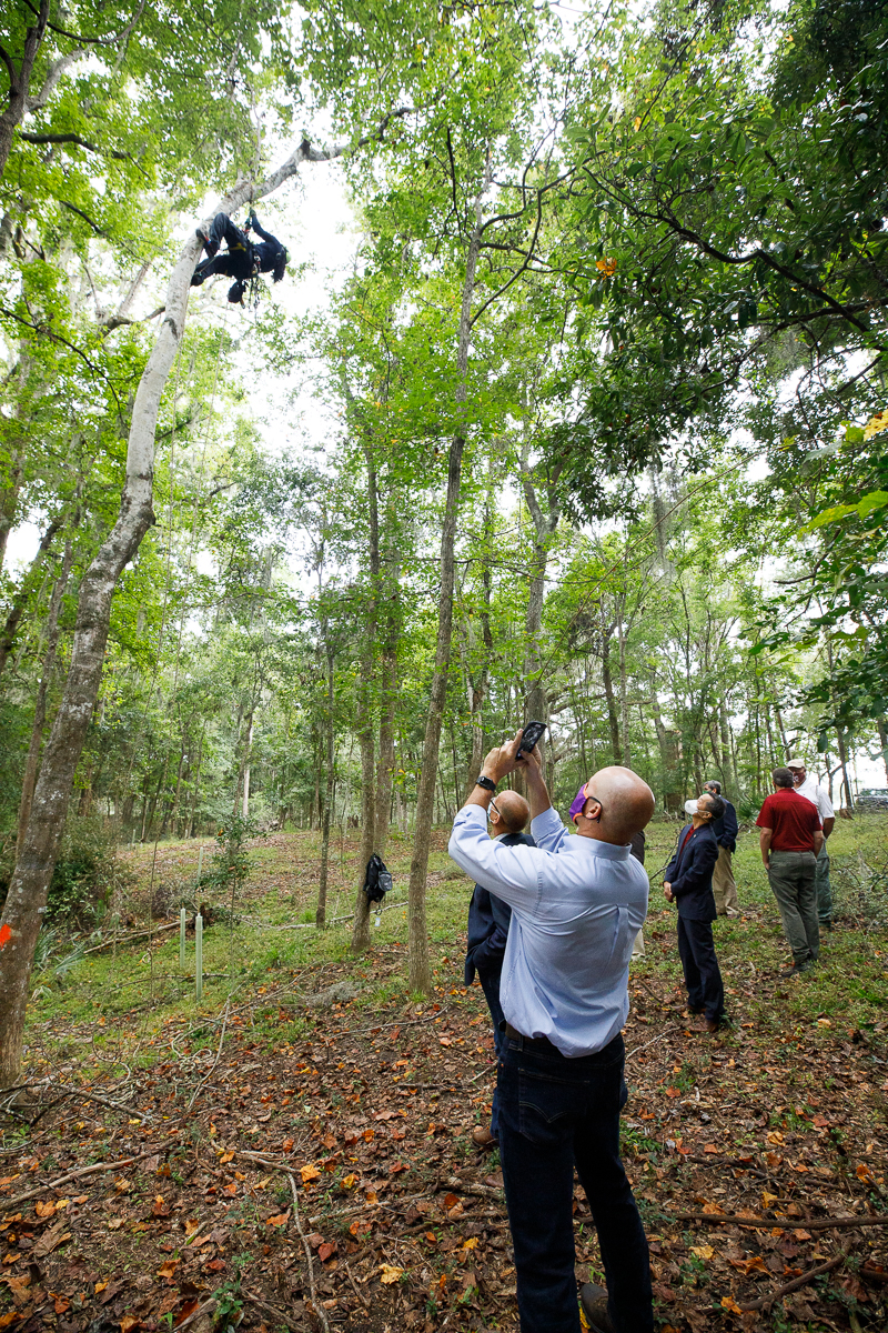 President Hsu, Matt Rutter and Greg Ibach, the Under-Secretary for Marketing and Regulatory Programs at the USDA along with others from CofC, Clemson, and the USDA inspect the Asian Longhorned Beetle infestation at Stono Preserve.