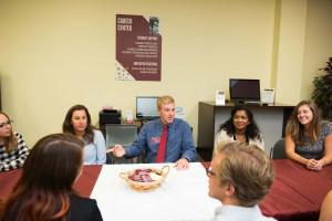 students meet with career center executive director Jim Allison