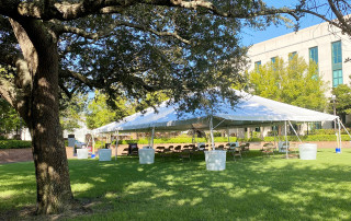a tent on rivers green designated for zoom classes