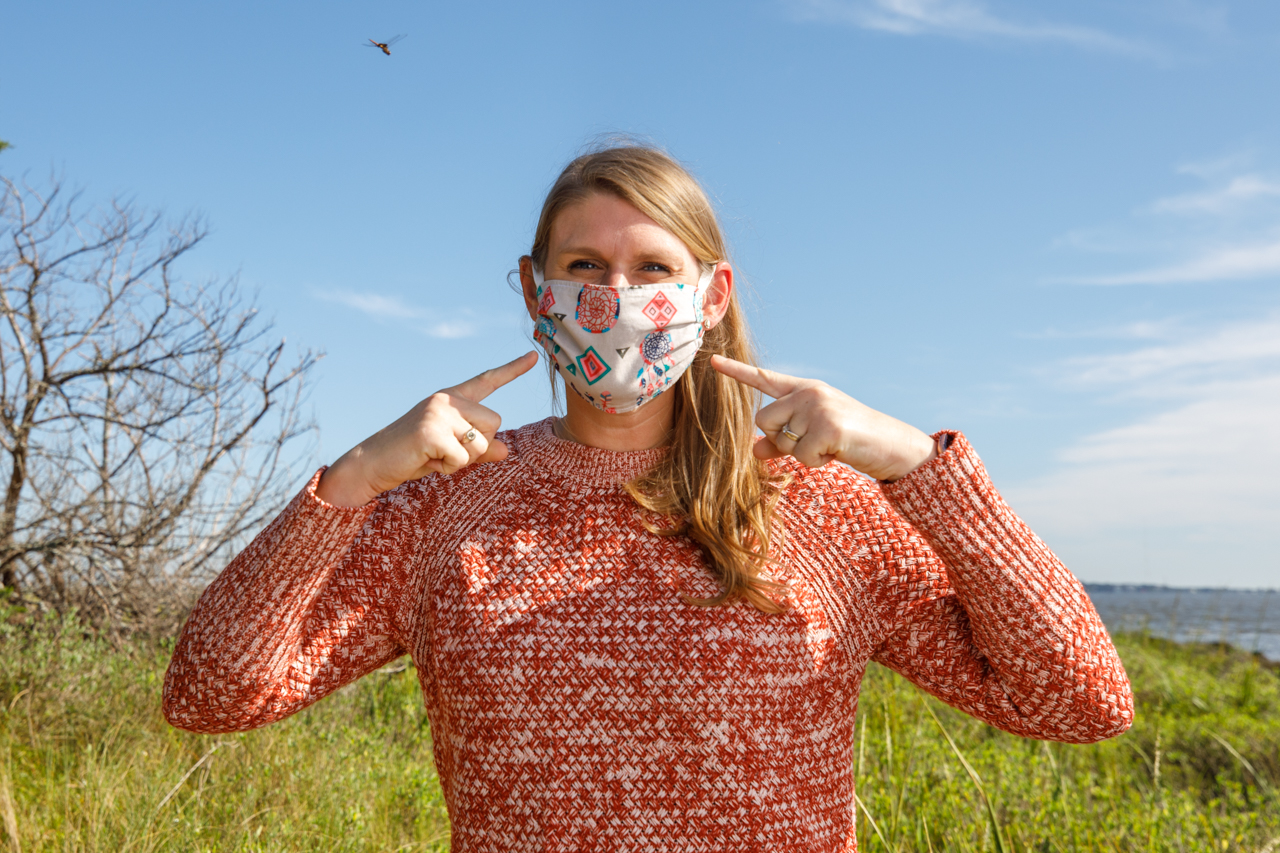 Prof Kristina Hill-Spanik wears a mask while working in the narsh at Grice.