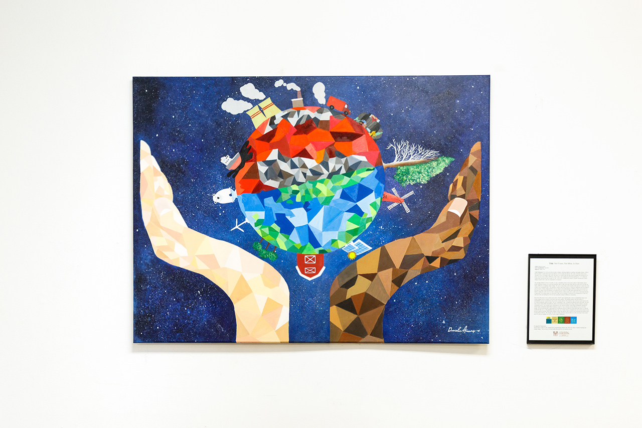 a painting of planet earth with a factory on one side and a farm and solar panels on the other
