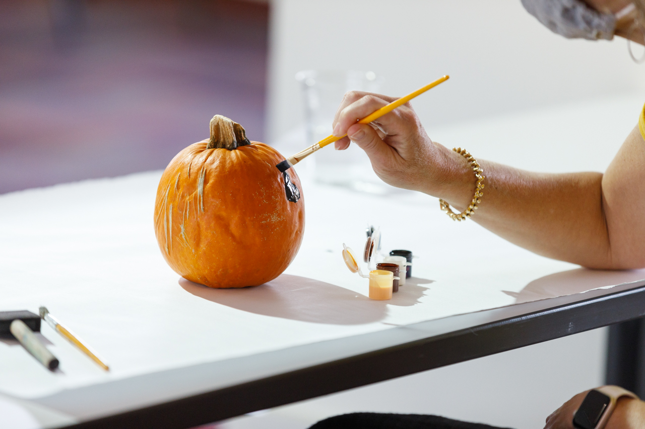 Student Affairs Pumpkin Painting in the Stern Center Ballroom.