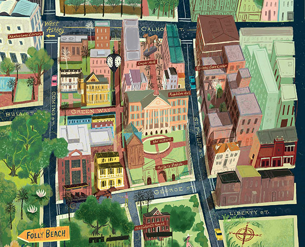 drawing of cofc campus map