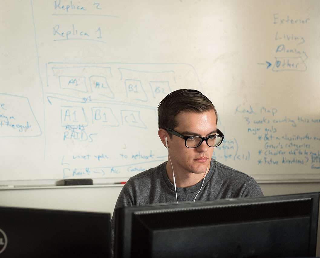 a student does work at a computer