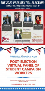 flyers promoting panel discussions about the 2020 presidential election