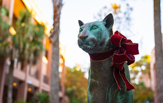 Holiday Cougar Statue