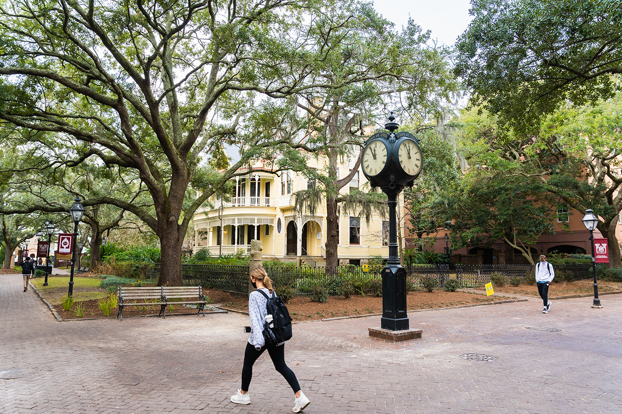 students walking on the cofc campus