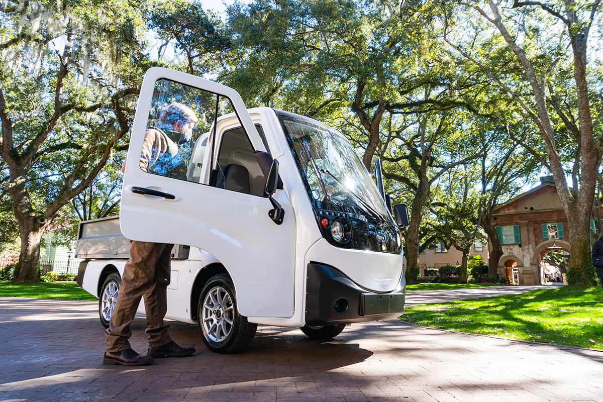 The College of Charleston receives a Club Car electric vehicle as part of a zero emissions sustainability partnership program.