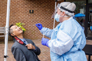 cofc president andrew hsu gets a covid test