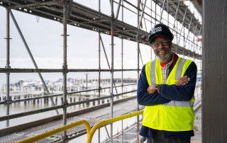Bernie Powers visits the International African American Museum building during it's construction.