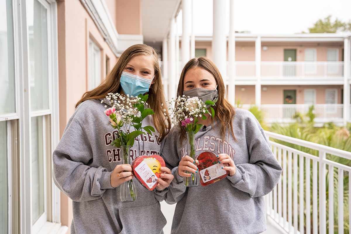 CofC students receive candygrams for Valentines Day.