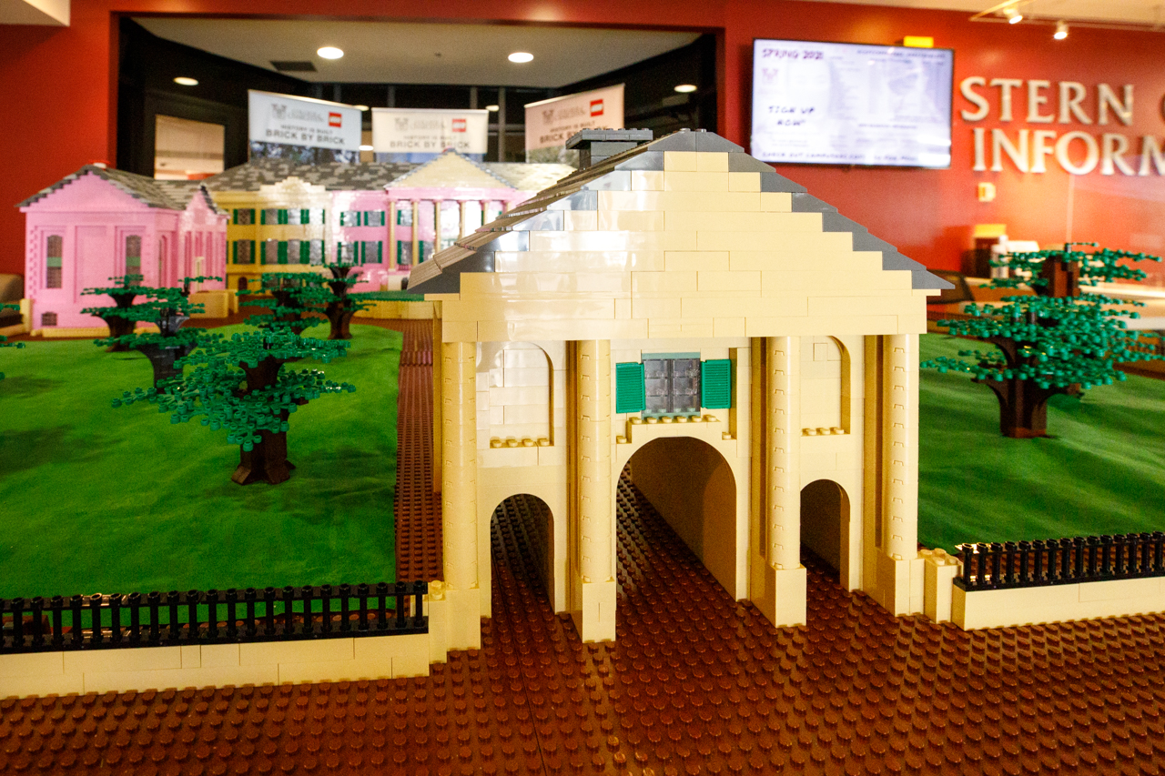 The lego model of Cistern Yard moved to the lobby of the Stern Student Center.