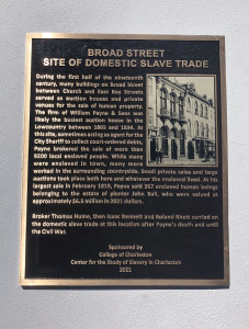 slave trade marker sponsored by the center for the study of slavery in charleston