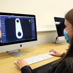 a student uses cad software