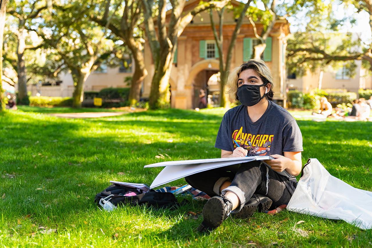 Outside drawing class