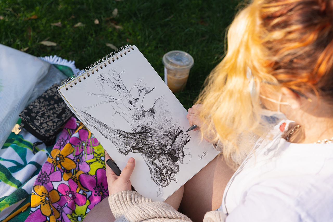 Outside drawing class