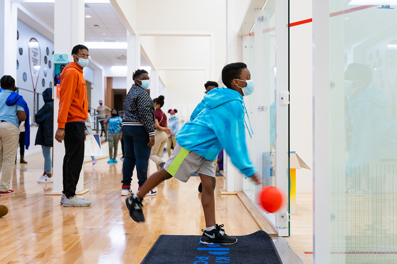 Kids participate in activities during a Kids on Point after school program at Johnson gym, College of Charleston.
